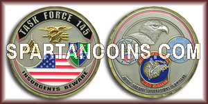 Limited Edition Task Force 145 Challenge Coin - 2 inch Antique Silver with Antique Gold plating and epoxy